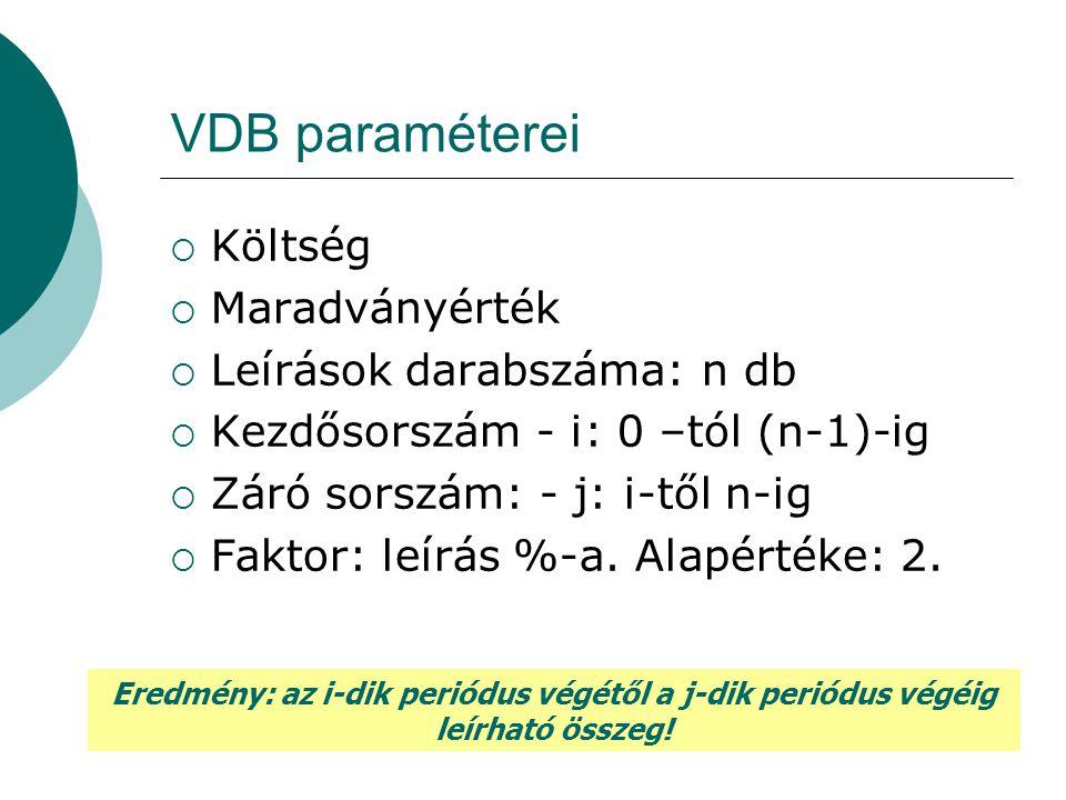 VDB paraméterei  Költség  Maradványérték  Leírások darabszáma: n db  Kezdősorszám - i: 0 –tól (n-1)-ig  Záró sorszám: - j: i-től n-ig  Faktor: l