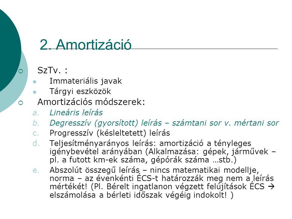 2. Amortizáció  SzTv. :  Immateriális javak  Tárgyi eszközök  Amortizációs módszerek: a.Lineáris leírás b.Degresszív (gyorsított) leírás – számtan