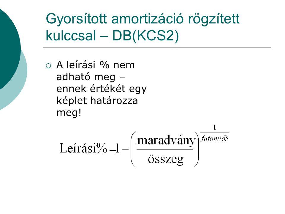 Gyorsított amortizáció rögzített kulccsal – DB(KCS2)  A leírási % nem adható meg – ennek értékét egy képlet határozza meg!