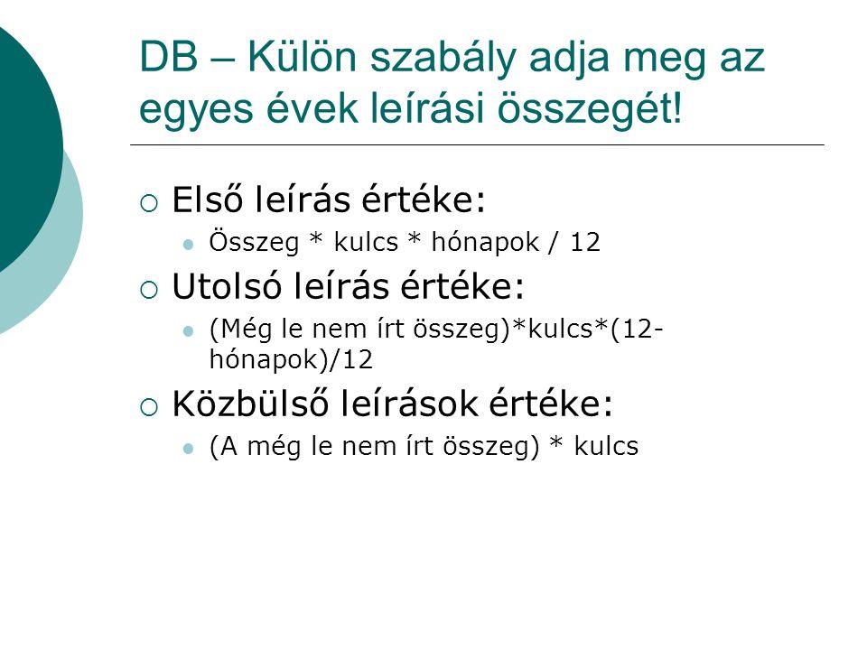 DB – Külön szabály adja meg az egyes évek leírási összegét!  Első leírás értéke:  Összeg * kulcs * hónapok / 12  Utolsó leírás értéke:  (Még le ne