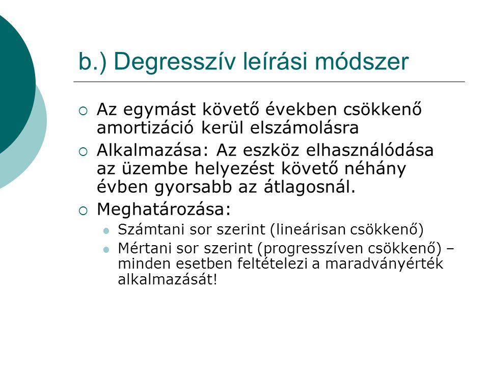 b.) Degresszív leírási módszer  Az egymást követő években csökkenő amortizáció kerül elszámolásra  Alkalmazása: Az eszköz elhasználódása az üzembe h