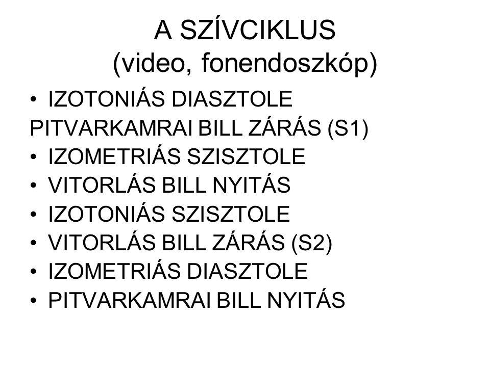 A SZÍVCIKLUS (video, fonendoszkóp) •IZOTONIÁS DIASZTOLE PITVARKAMRAI BILL ZÁRÁS (S1) •IZOMETRIÁS SZISZTOLE •VITORLÁS BILL NYITÁS •IZOTONIÁS SZISZTOLE