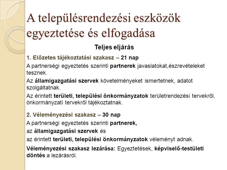 A településrendezési eszközök egyeztetése és elfogadása Teljes eljárás 1. Előzetes tájékoztatási szakasz – 21 nap A partnerségi egyeztetés szerinti pa