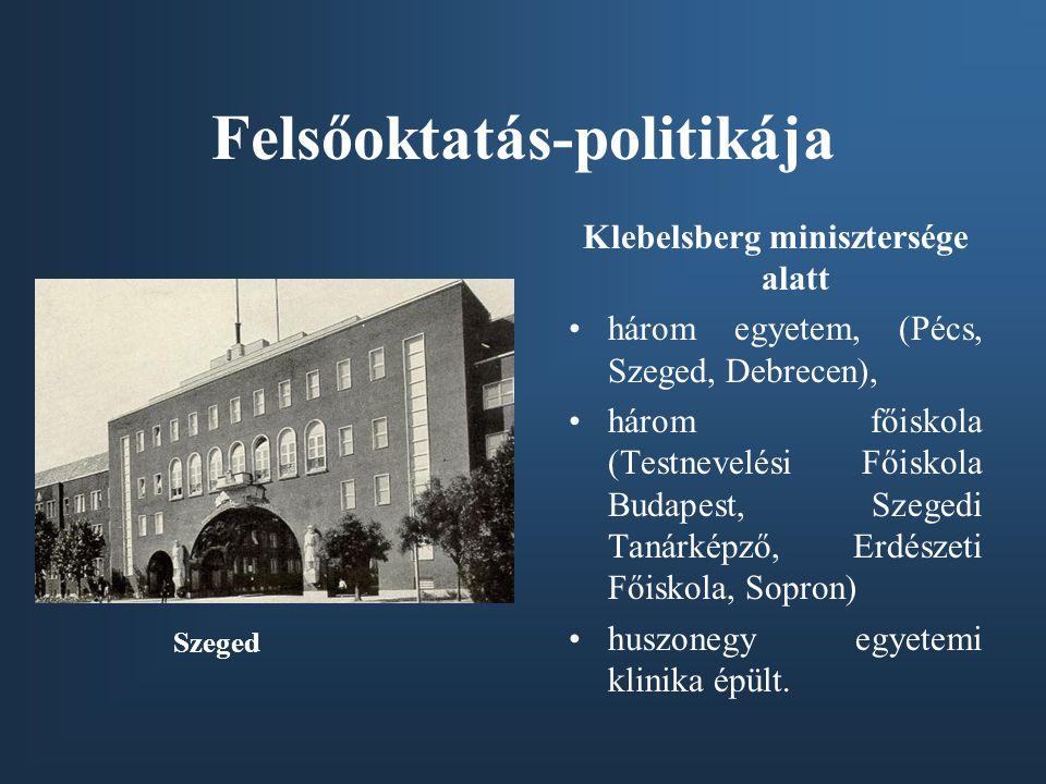 Felsőoktatás-politikája Klebelsberg minisztersége alatt •három egyetem, (Pécs, Szeged, Debrecen), •három főiskola (Testnevelési Főiskola Budapest, Sze