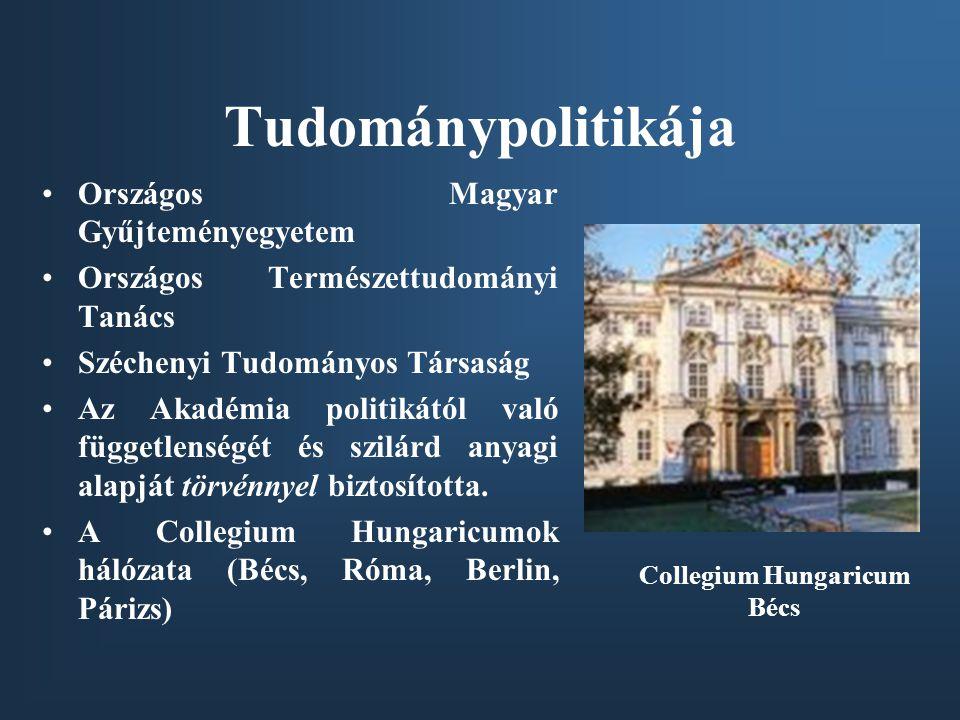 Tudománypolitikája •Országos Magyar Gyűjteményegyetem •Országos Természettudományi Tanács •Széchenyi Tudományos Társaság •Az Akadémia politikától való