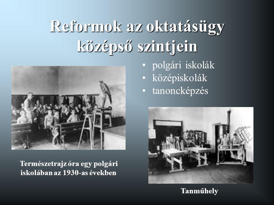 Reformok az oktatásügy középső szintjein •polgári iskolák •középiskolák •tanoncképzés Természetrajz óra egy polgári iskolában az 1930-as években Tanmű