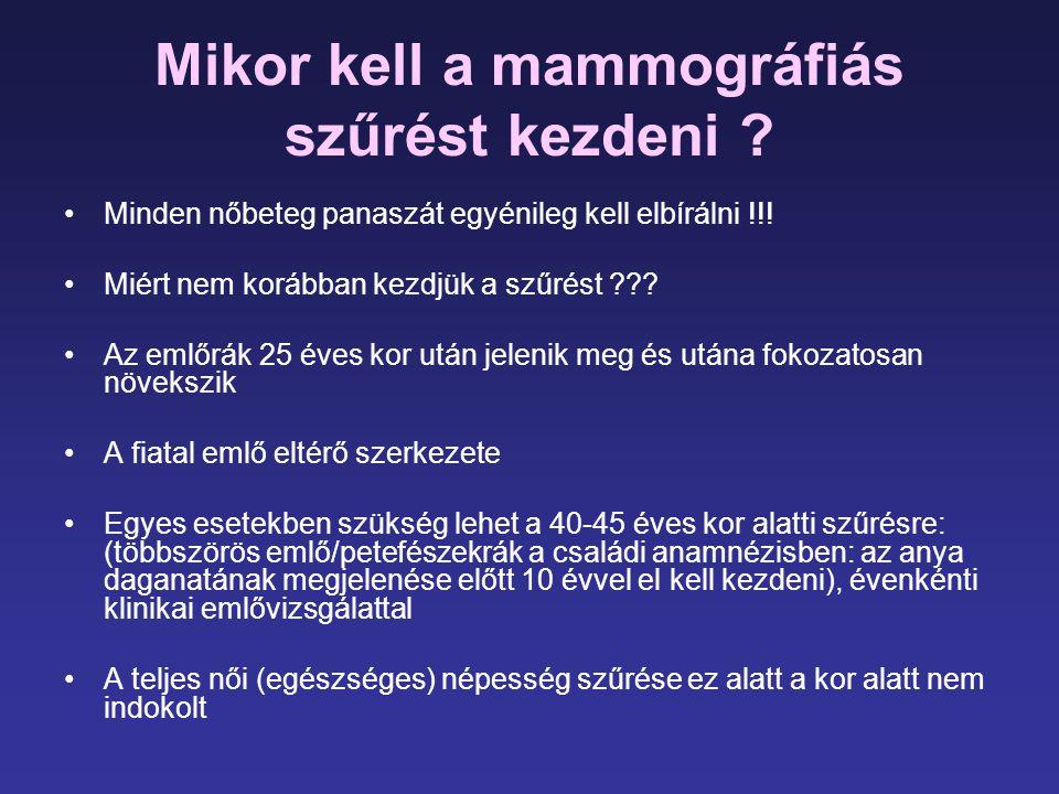 Mikor kell a mammográfiás szűrést kezdeni ? •Minden nőbeteg panaszát egyénileg kell elbírálni !!! •Miért nem korábban kezdjük a szűrést ??? •Az emlőrá
