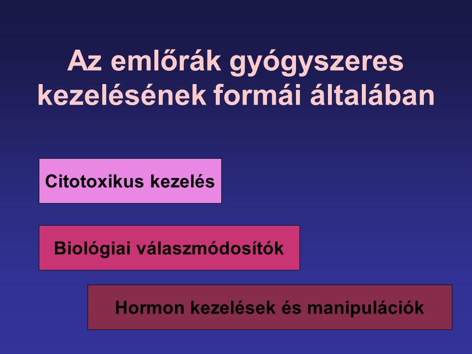 Az emlőrák gyógyszeres kezelésének formái általában Citotoxikus kezelés Biológiai válaszmódosítók Hormon kezelések és manipulációk