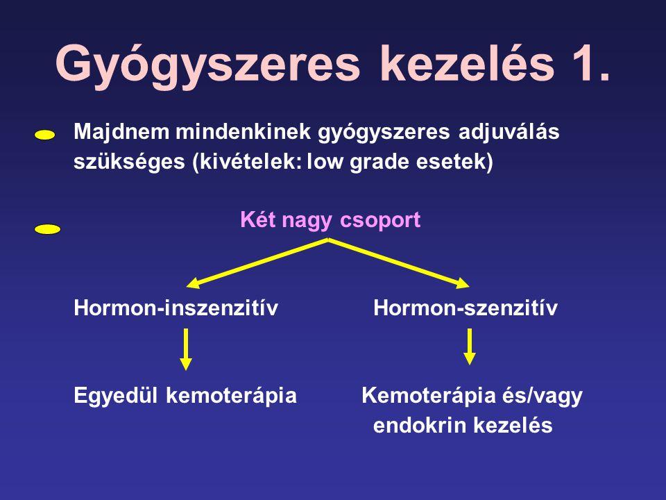 Gyógyszeres kezelés 1. Majdnem mindenkinek gyógyszeres adjuválás szükséges (kivételek: low grade esetek) Két nagy csoport Hormon-inszenzitívHormon-sze