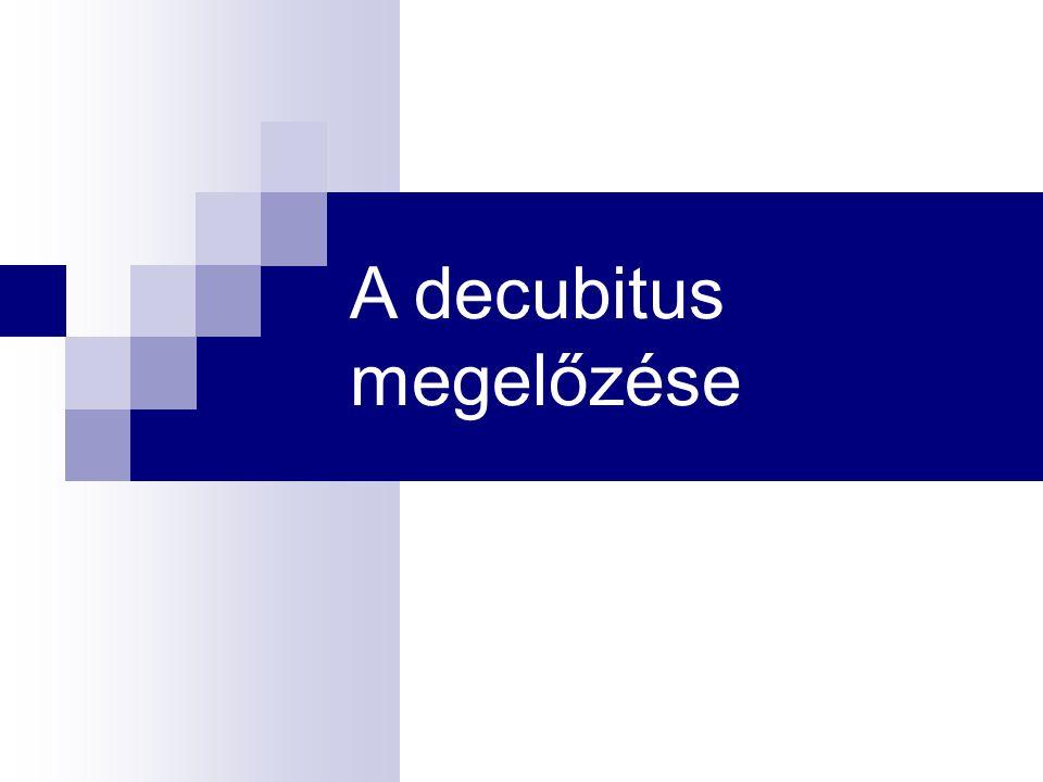 PREVENCIÓS TEVÉKENYSÉGEK CÉLJA - decubitus kialakulása szempontjából veszélyeztetett betegek kiszűrése - rizikófelmérés (kockázatfelmérő eszközök alkalmazásával) a FELVÉTEL napján (2 óra) - rizikó kategória szerinti, egyénre szabott, szövetkárosodást megelőző ápolás végzése