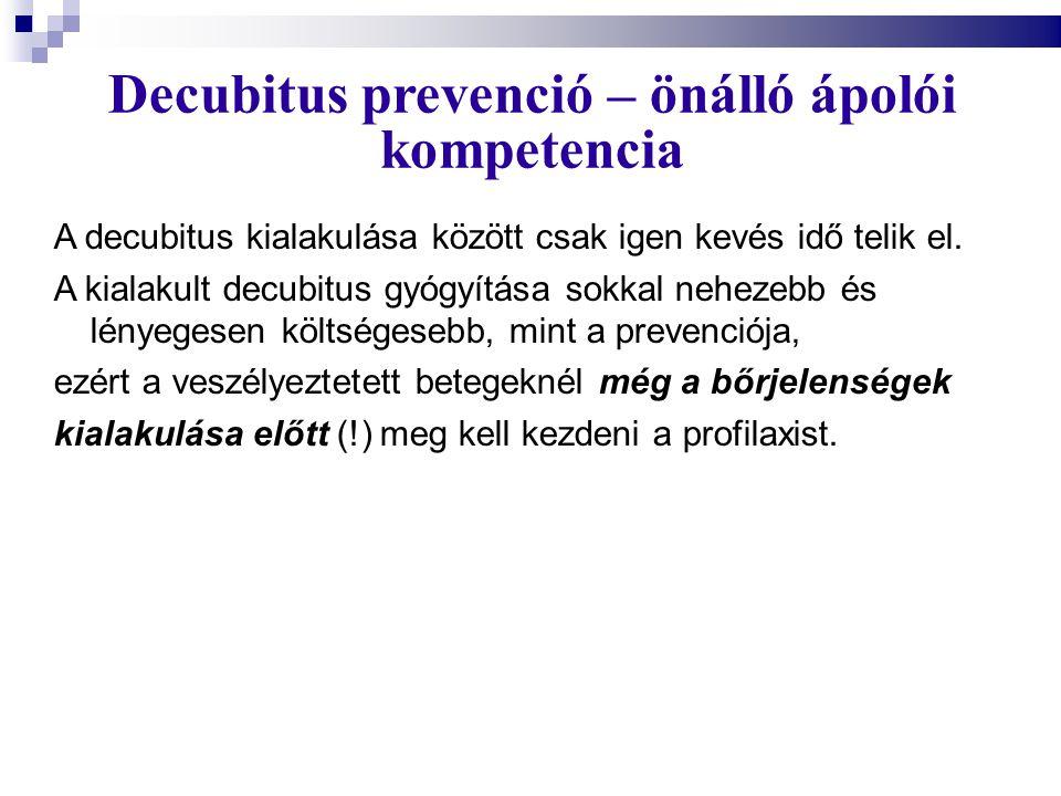 Decubitus prevenció – önálló ápolói kompetencia A decubitus kialakulása között csak igen kevés idő telik el. A kialakult decubitus gyógyítása sokkal n