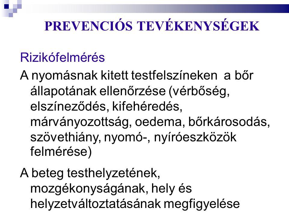 PREVENCIÓS TEVÉKENYSÉGEK Rizikófelmérés A nyomásnak kitett testfelszíneken a bőr állapotának ellenőrzése (vérbőség, elszíneződés, kifehéredés, márvány