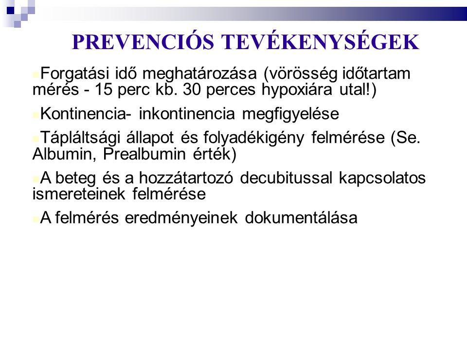 PREVENCIÓS TEVÉKENYSÉGEK  Forgatási idő meghatározása (vörösség időtartam mérés - 15 perc kb. 30 perces hypoxiára utal!)  Kontinencia- inkontinenci