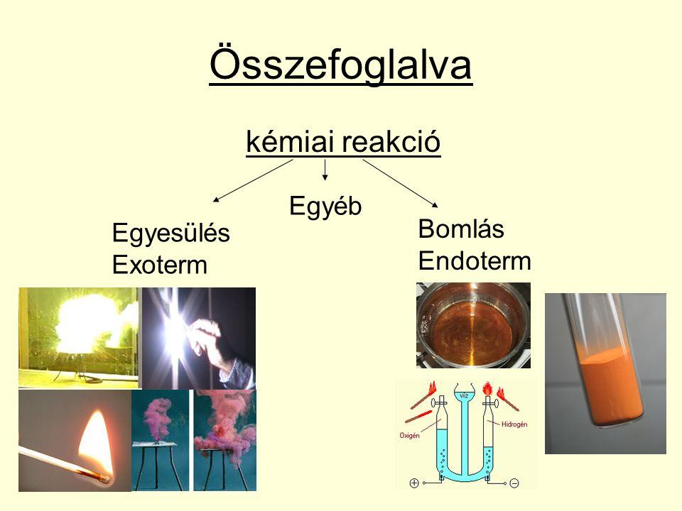 Összefoglalva kémiai reakció Egyesülés Exoterm Bomlás Endoterm Egyéb