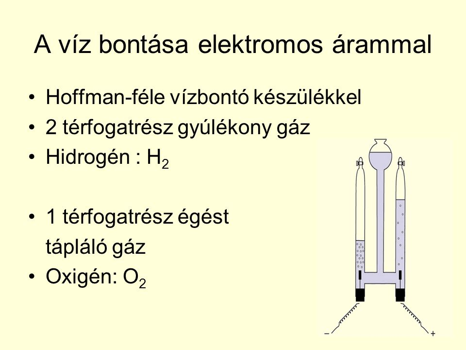 A víz bontása elektromos árammal •Hoffman-féle vízbontó készülékkel •2 térfogatrész gyúlékony gáz •Hidrogén : H 2 •1 térfogatrész égést tápláló gáz •O