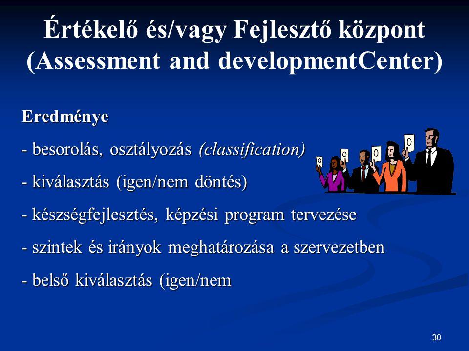 30 Értékelő és/vagy Fejlesztő központ (Assessment and developmentCenter) Eredménye - besorolás, osztályozás (classification) - kiválasztás (igen/nem d