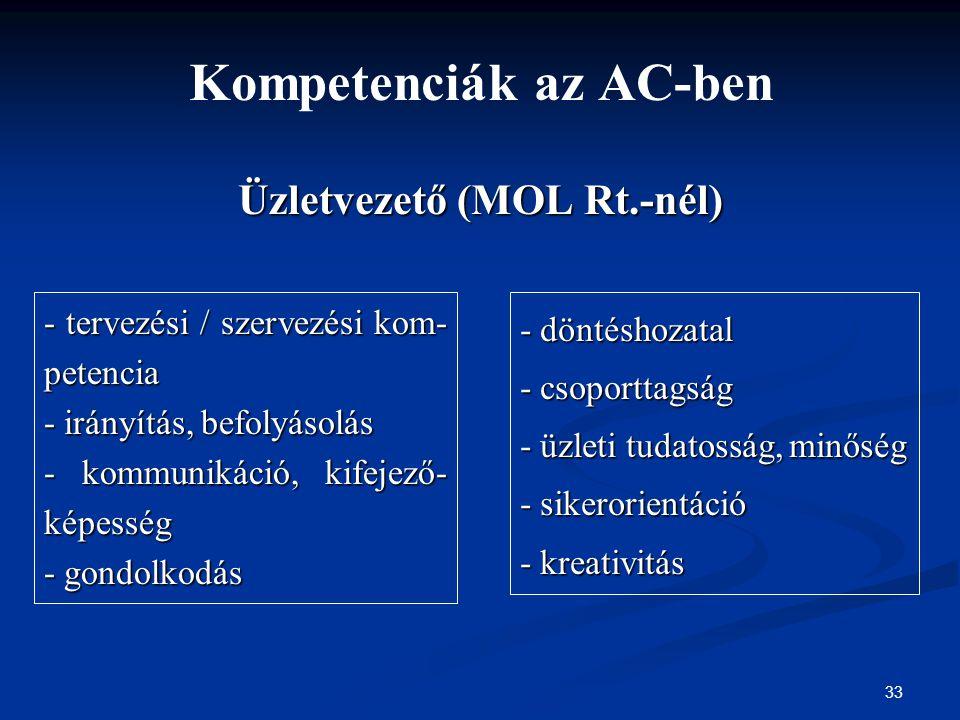 33 Kompetenciák az AC-ben Üzletvezető (MOL Rt.-nél) - tervezési / szervezési kom- petencia - irányítás, befolyásolás - kommunikáció, kifejező- képessé