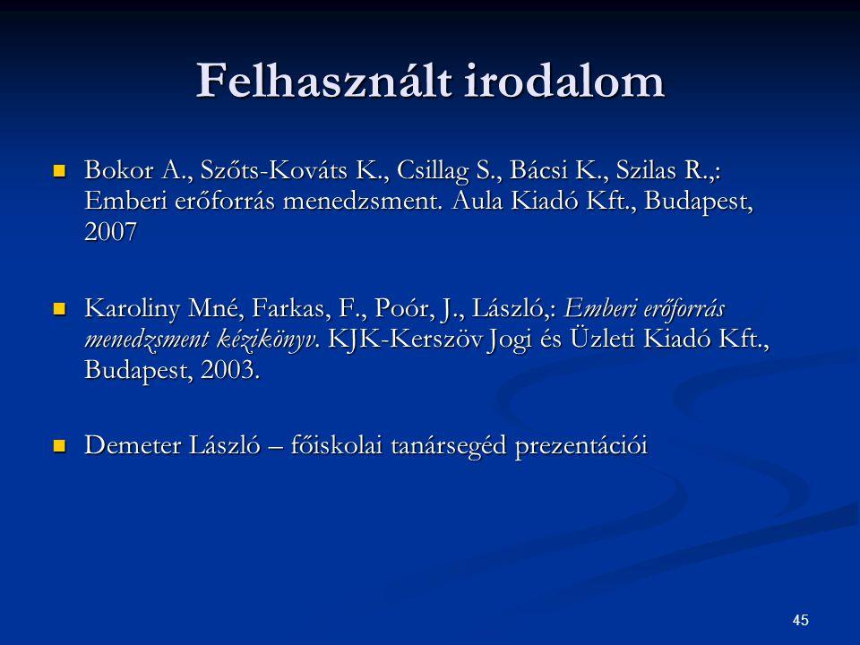 45  Bokor A., Szőts-Kováts K., Csillag S., Bácsi K., Szilas R.,: Emberi erőforrás menedzsment. Aula Kiadó Kft., Budapest, 2007  Karoliny Mné, Farkas