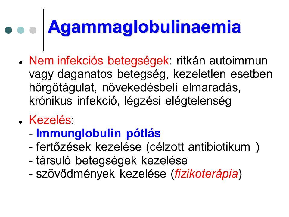  Nem infekciós betegségek: ritkán autoimmun vagy daganatos betegség, kezeletlen esetben hörgőtágulat, növekedésbeli elmaradás, krónikus infekció, lég