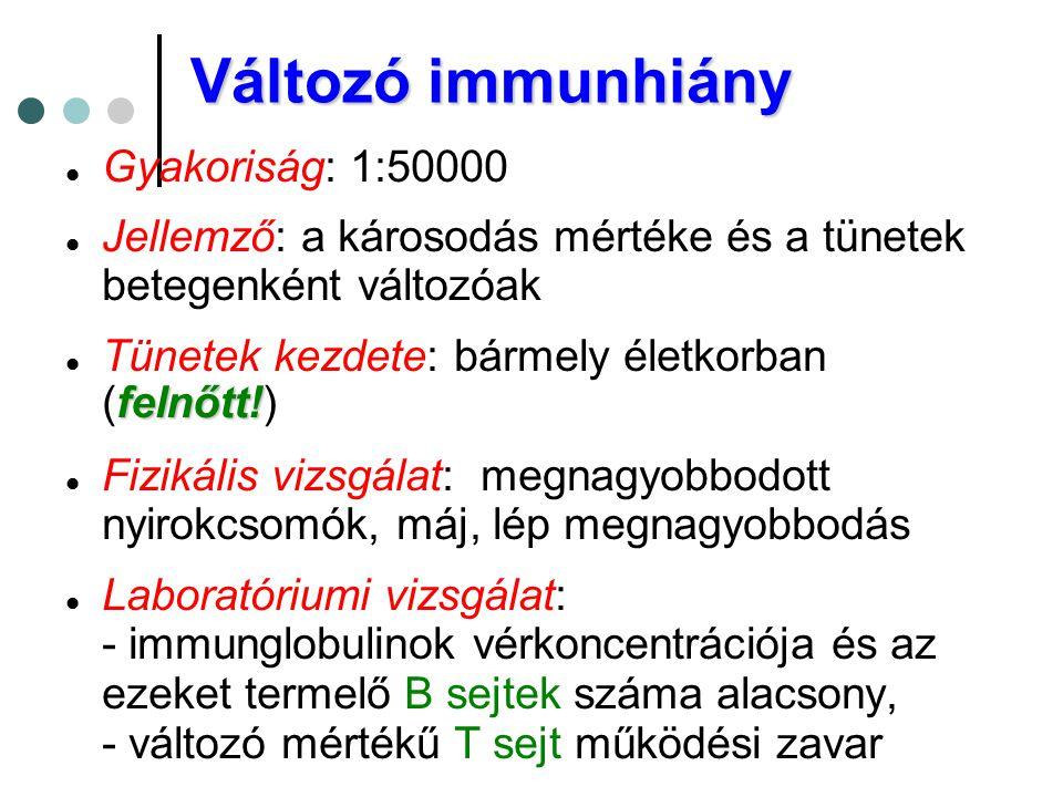 Változó immunhiány  Gyakoriság: 1:50000  Jellemző: a károsodás mértéke és a tünetek betegenként változóak felnőtt!  Tünetek kezdete: bármely életko