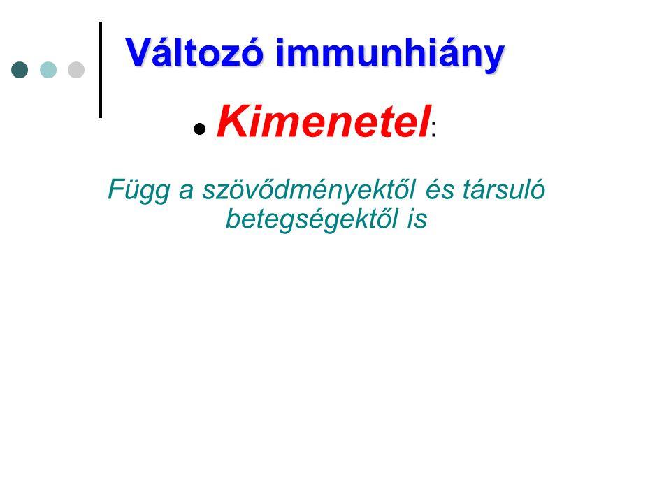 Változó immunhiány  Kimenetel : Függ a szövődményektől és társuló betegségektől is