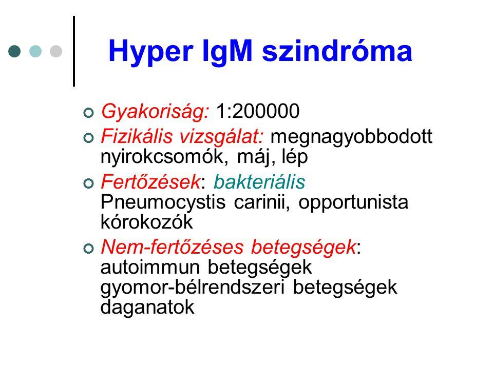 Hyper IgM szindróma Gyakoriság: 1:200000 Fizikális vizsgálat: megnagyobbodott nyirokcsomók, máj, lép Fertőzések: bakteriális Pneumocystis carinii, opp