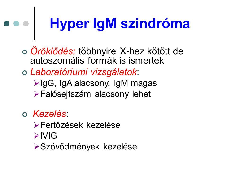 Hyper IgM szindróma Öröklődés: többnyire X-hez kötött de autoszomális formák is ismertek Laboratóriumi vizsgálatok:  IgG, IgA alacsony, IgM magas  F