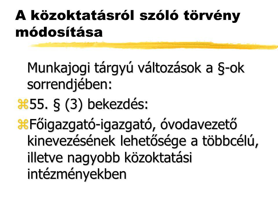 A közoktatásról szóló törvény módosítása Munkajogi tárgyú változások a §-ok sorrendjében: z55.