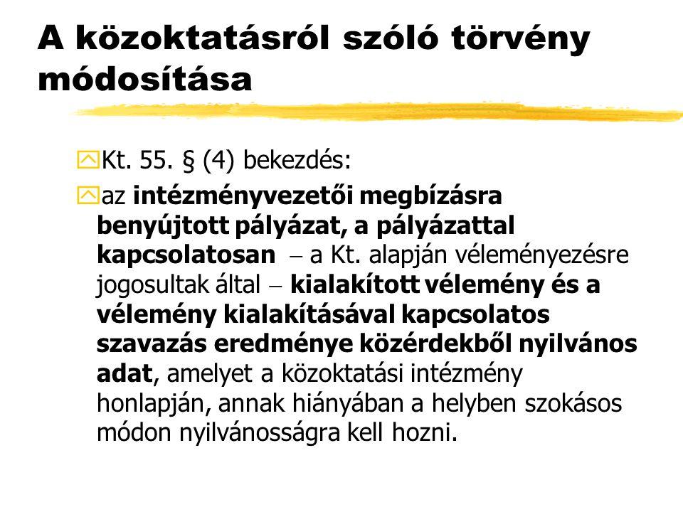 A közoktatásról szóló törvény módosítása yKt. 55.