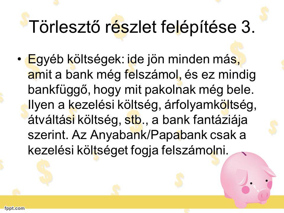 Törlesztő részlet felépítése 3. •Egyéb költségek: ide jön minden más, amit a bank még felszámol, és ez mindig bankfüggő, hogy mit pakolnak még bele. I