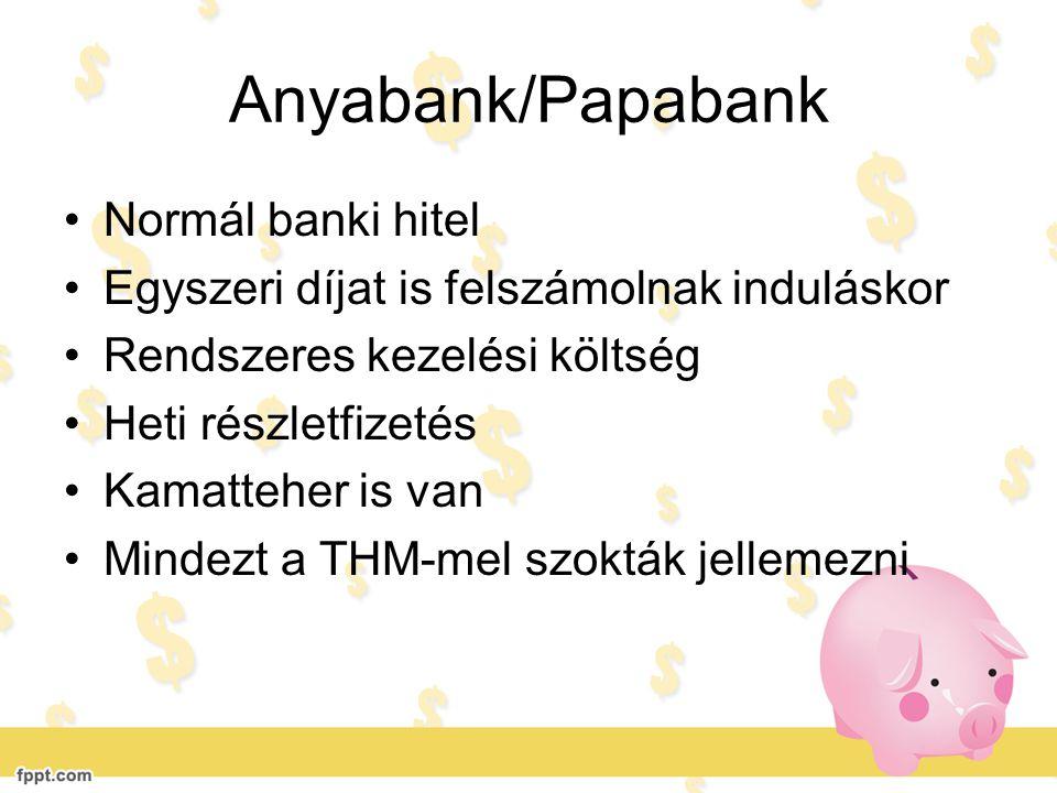 Anyabank/Papabank •Normál banki hitel •Egyszeri díjat is felszámolnak induláskor •Rendszeres kezelési költség •Heti részletfizetés •Kamatteher is van