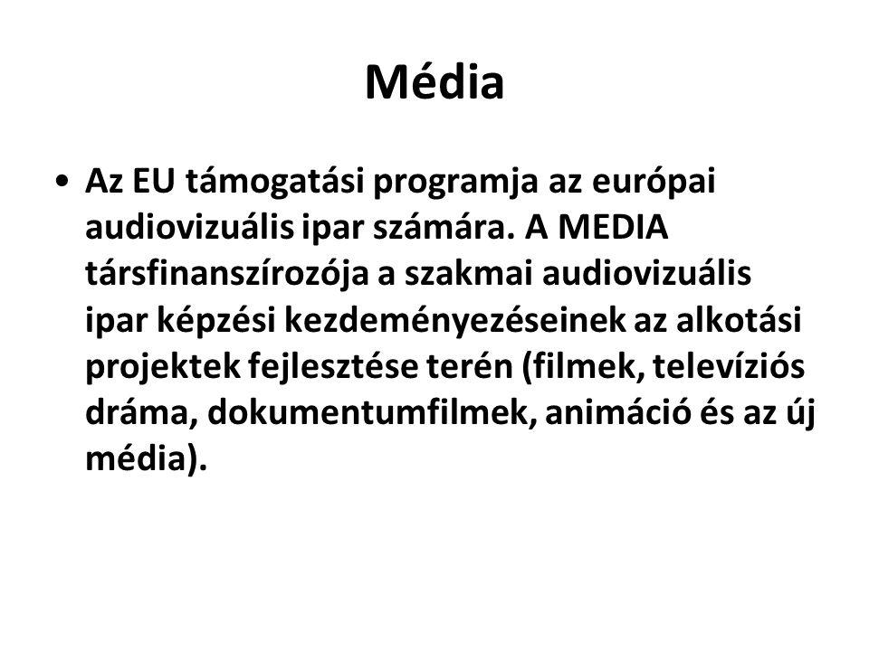 Média •Az EU támogatási programja az európai audiovizuális ipar számára. A MEDIA társfinanszírozója a szakmai audiovizuális ipar képzési kezdeményezés