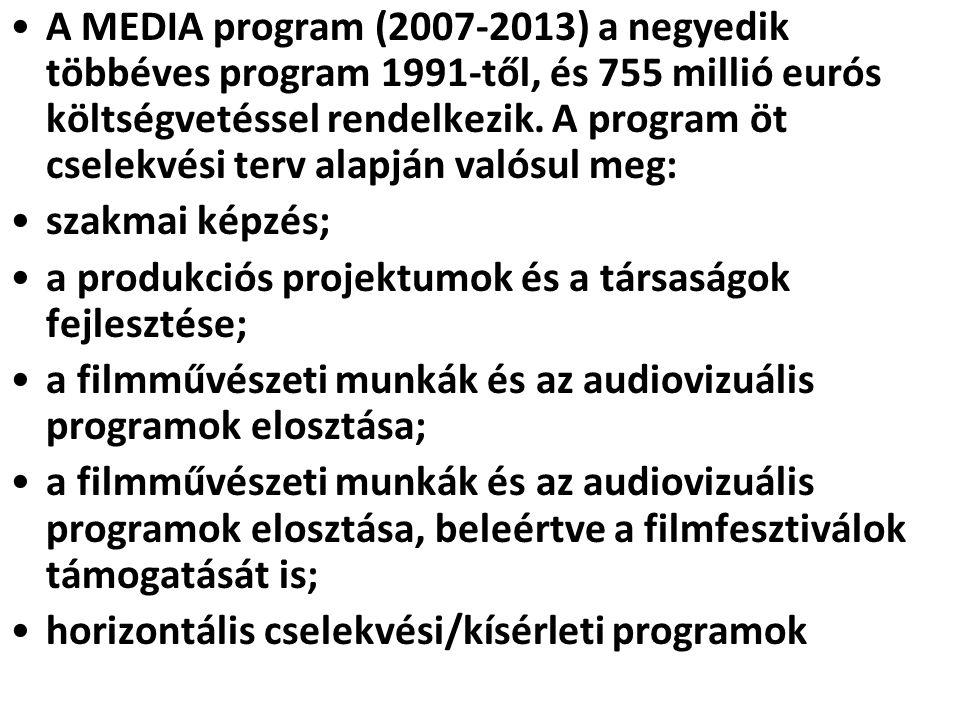 •A MEDIA program (2007-2013) a negyedik többéves program 1991-től, és 755 millió eurós költségvetéssel rendelkezik. A program öt cselekvési terv alapj