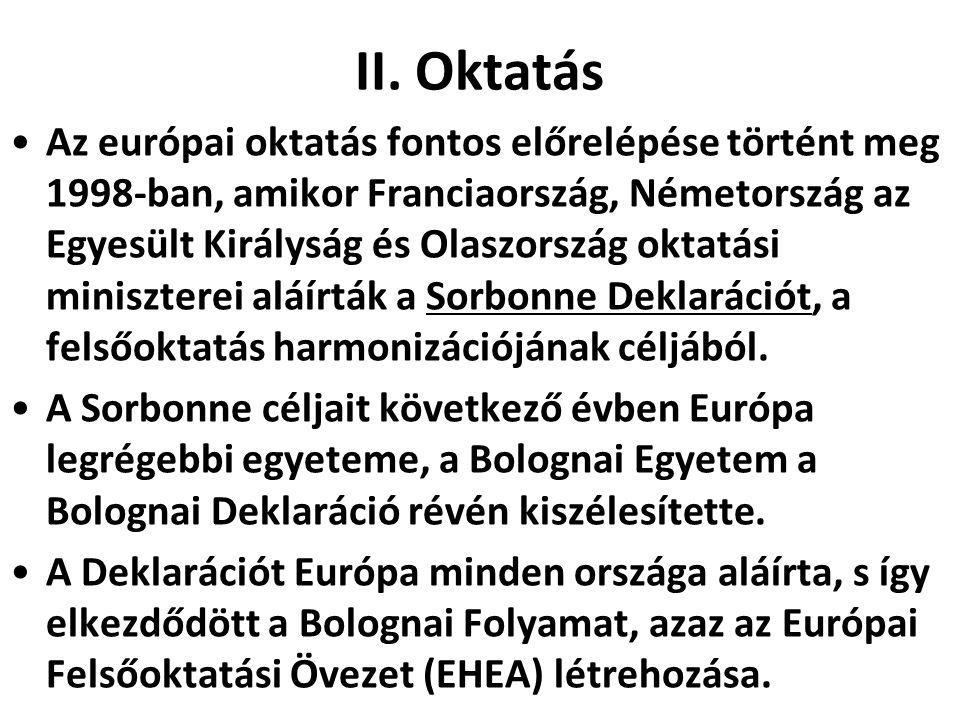 II. Oktatás •Az európai oktatás fontos előrelépése történt meg 1998-ban, amikor Franciaország, Németország az Egyesült Királyság és Olaszország oktatá