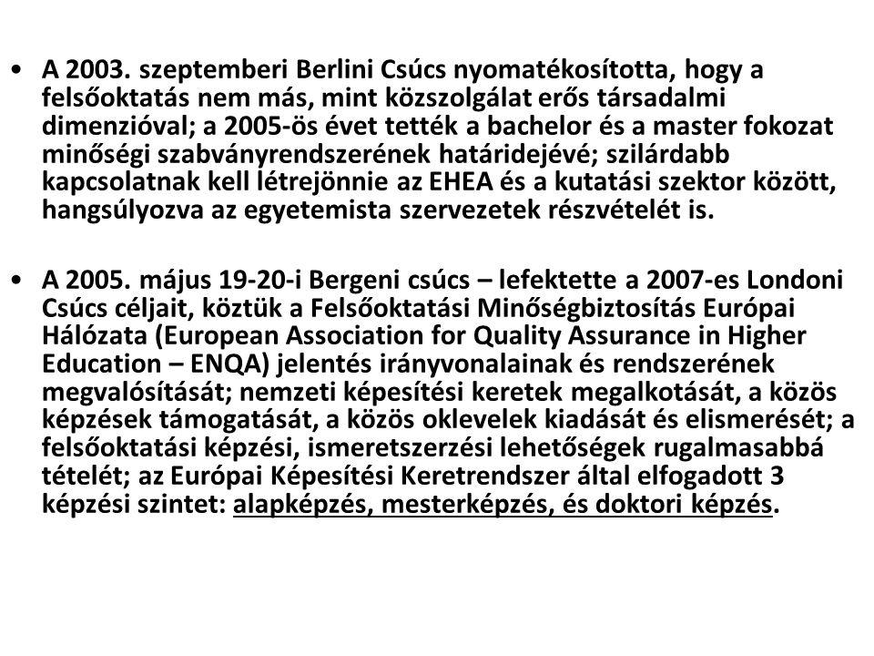 •A 2003. szeptemberi Berlini Csúcs nyomatékosította, hogy a felsőoktatás nem más, mint közszolgálat erős társadalmi dimenzióval; a 2005-ös évet tették