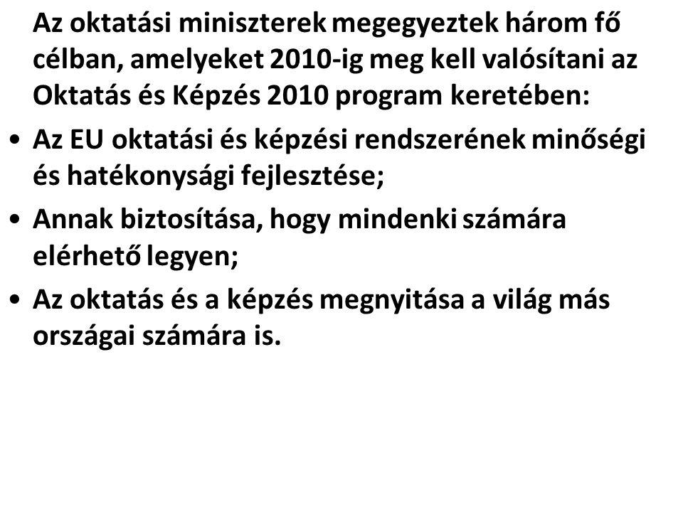 Az oktatási miniszterek megegyeztek három fő célban, amelyeket 2010-ig meg kell valósítani az Oktatás és Képzés 2010 program keretében: •Az EU oktatás