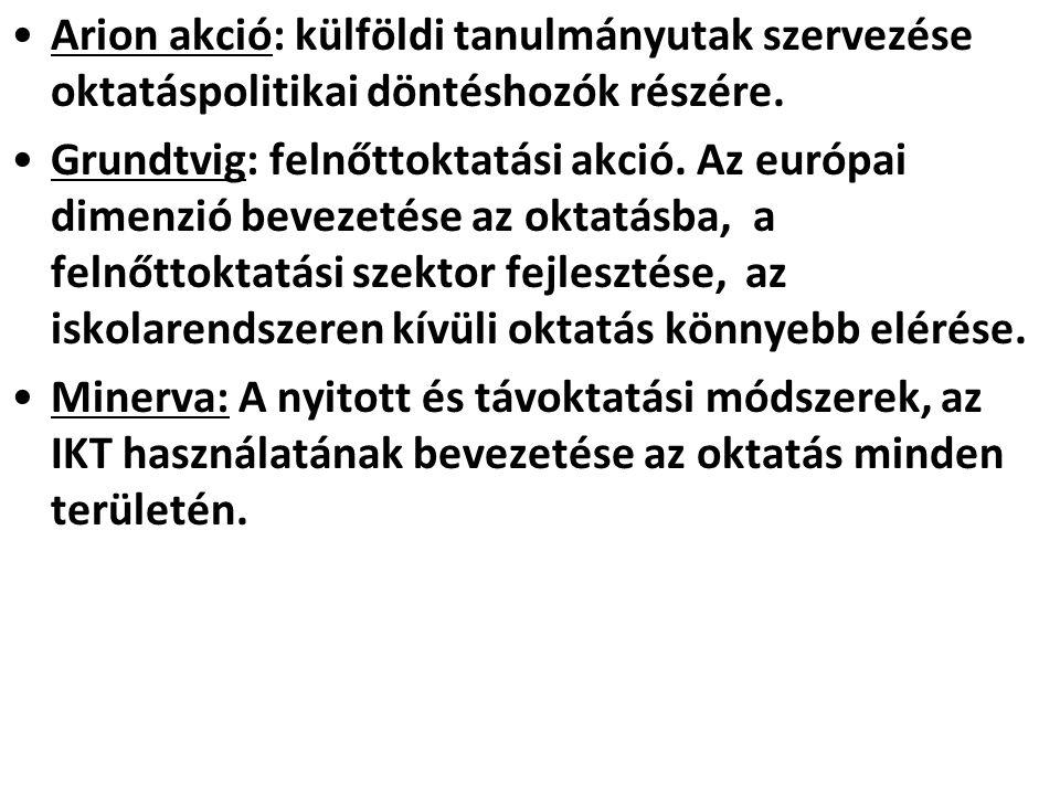 •Arion akció: külföldi tanulmányutak szervezése oktatáspolitikai döntéshozók részére. •Grundtvig: felnőttoktatási akció. Az európai dimenzió bevezetés
