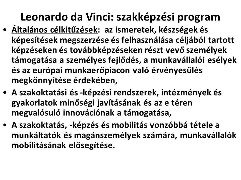 Leonardo da Vinci: szakképzési program •Általános célkitűzések: az ismeretek, készségek és képesítések megszerzése és felhasználása céljából tartott k