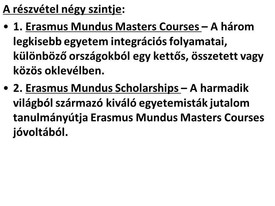A részvétel négy szintje: •1. Erasmus Mundus Masters Courses – A három legkisebb egyetem integrációs folyamatai, különböző országokból egy kettős, öss