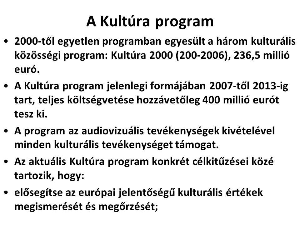 A Kultúra program •2000-től egyetlen programban egyesült a három kulturális közösségi program: Kultúra 2000 (200-2006), 236,5 millió euró. •A Kultúra