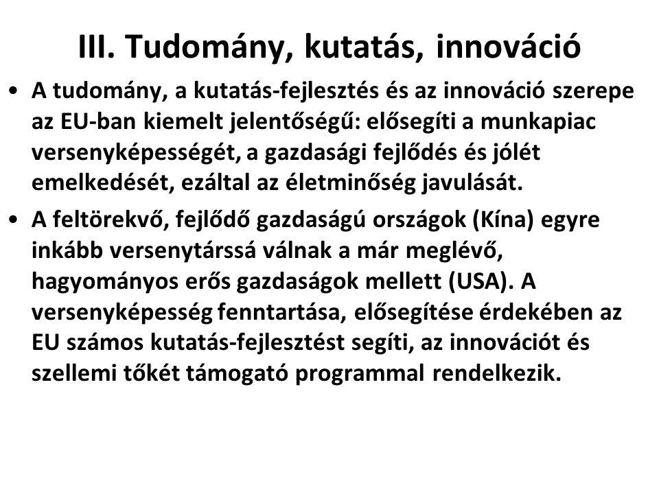 III. Tudomány, kutatás, innováció •A tudomány, a kutatás-fejlesztés és az innováció szerepe az EU-ban kiemelt jelentőségű: elősegíti a munkapiac verse