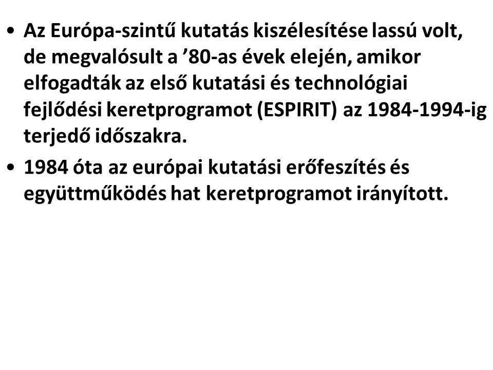 •Az Európa-szintű kutatás kiszélesítése lassú volt, de megvalósult a '80-as évek elején, amikor elfogadták az első kutatási és technológiai fejlődési