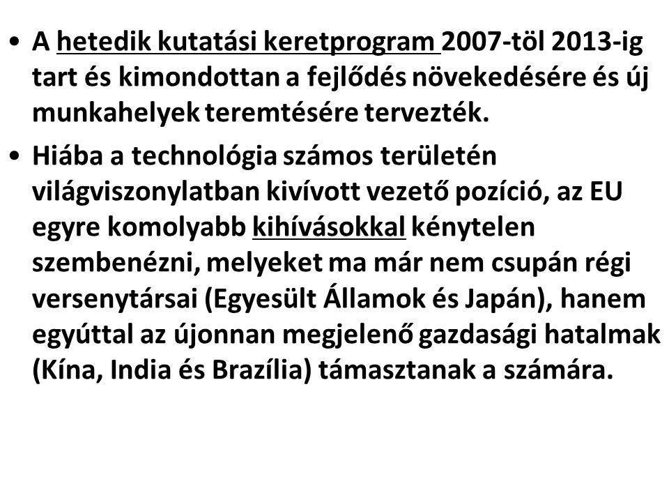 •A hetedik kutatási keretprogram 2007-töl 2013-ig tart és kimondottan a fejlődés növekedésére és új munkahelyek teremtésére tervezték. •Hiába a techno