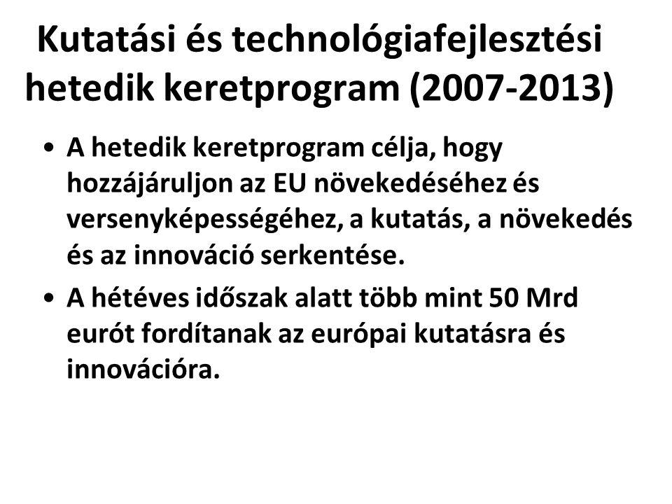 Kutatási és technológiafejlesztési hetedik keretprogram (2007-2013) •A hetedik keretprogram célja, hogy hozzájáruljon az EU növekedéséhez és versenyké