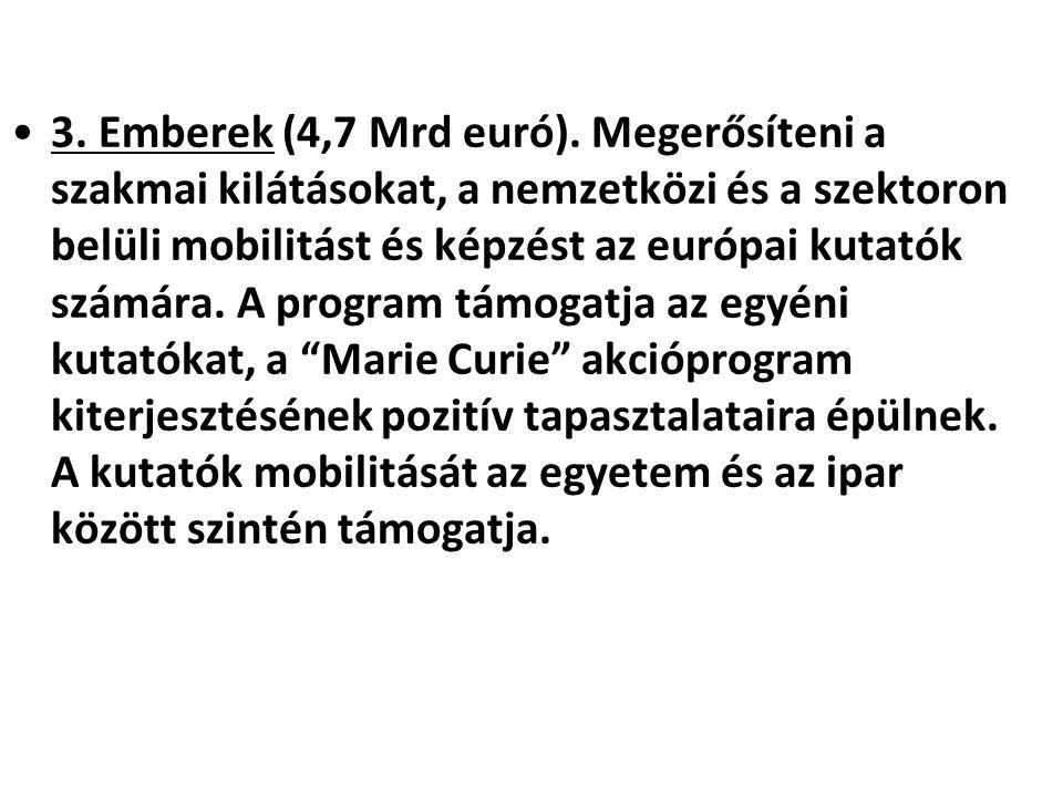 •3. Emberek (4,7 Mrd euró). Megerősíteni a szakmai kilátásokat, a nemzetközi és a szektoron belüli mobilitást és képzést az európai kutatók számára. A