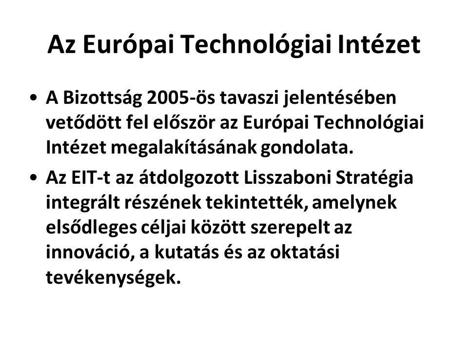 Az Európai Technológiai Intézet •A Bizottság 2005-ös tavaszi jelentésében vetődött fel először az Európai Technológiai Intézet megalakításának gondola