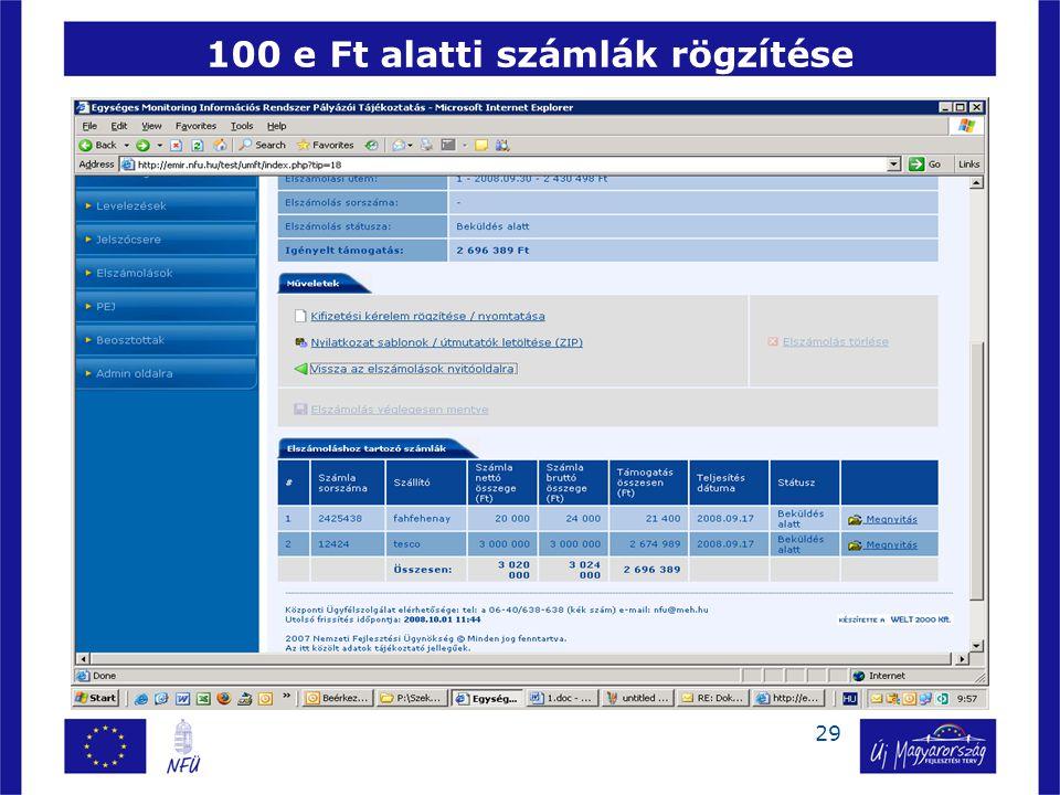29 100 e Ft alatti számlák rögzítése 