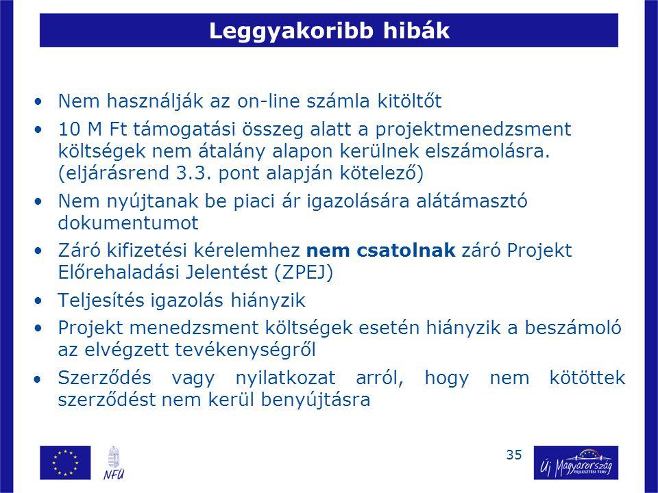 35 Leggyakoribb hibák •Nem használják az on-line számla kitöltőt •10 M Ft támogatási összeg alatt a projektmenedzsment költségek nem átalány alapon kerülnek elszámolásra.