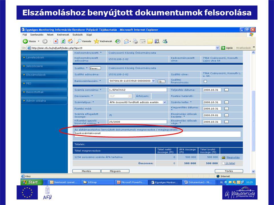 Elszámoláshoz benyújtott dokumentumok felsorolása
