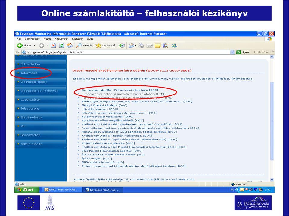 Online számlakitöltő – felhasználói kézikönyv